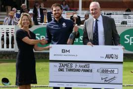 JAMES HARRIS WINS MIDDLESEX CRICKET'S AUGUST BROOKS MACDONALD PLAYER OF THE MONTH AWARD